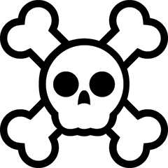 Skull and cross bones illustration.